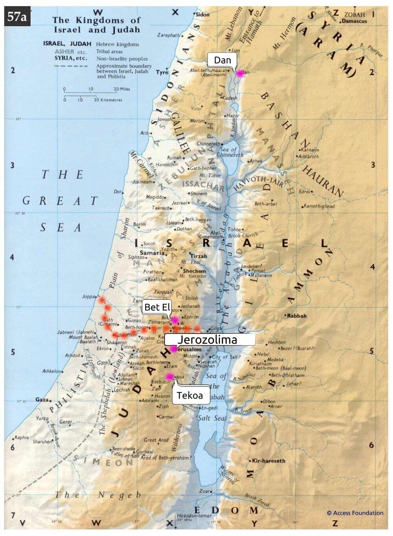 Na mapie zaznaczono dwa miasta mające być alternatywą dla Świątyni w Jerozolimie, w których ustawiono złote cielce (Dan i Bet El), Jerozolimę i Tekoa, z którego pochodził Amos. Dodatkowo czerwonymi kropkami zaznaczono granicę między Królestwem Judy, a Królestwem Izraela.