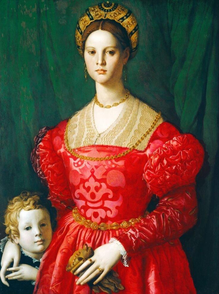 Donna in rosso con bambino - Agnolo Bronzino. Prawdopodobnie przedstawia Beatrice Mendes.