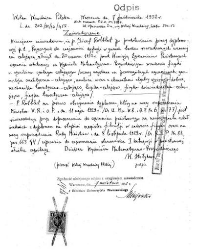 Dokument poświadczający otrzymanie tytułu magistra. Zwróćcie uwagę na oceny, jakie otrzymał Józef Rotblat z poszczególnych przedmiotów.
